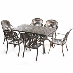 New Indoor And Outdoor Bronze Dinning Set 6 Chairs With 1 Table Bistro Patio
