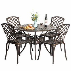 New Outdoor And Indoor Bronze Dinning Set 4 Chairs With 1 Table Bistro Patio
