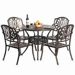 New Indoor And Outdoor Bronze Dinning Set 4 Chairs With 1 Table Bistro Patio