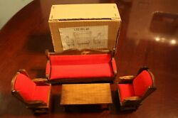 Vintage Wooden Doll House Miniature Living Room Set Couch Chairs Table With Box