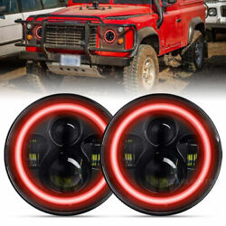 Pair 7inch Led Headlights Red Halo Turn Light For Land Rover Defender 90 And 110