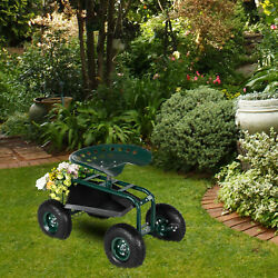 Rolling Garden Cart Work Seat W/ Tool Tray 360anddeg Swivel Seat For Planting
