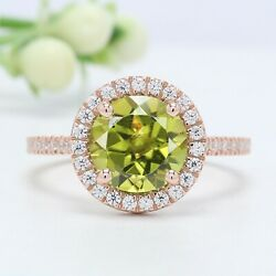 Yellowish Green Peridot Round Stone Ring 10k 14k Solid Gold Engagement Ring Gn39