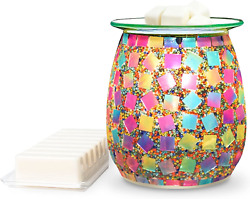Flippinand039 Happy Mosaic Glass Electric Wax Melt Warmer - Scented Wax Burner And Oi