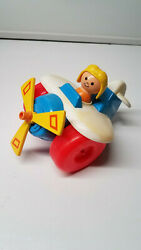 Vintage 1980s Fisher Price Plane 171 Plastic Airplane Toy Propeller Spins