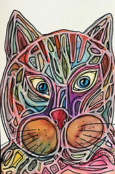 Original Painting 4x6quot; CAT colors face blue eyes outlining by Lynne Kohler