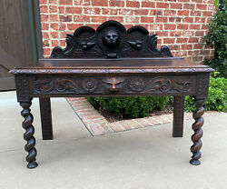 Antique English Window Bench Seat Bed Bench Barley Twist Drawer Makers Tag 1900