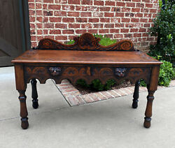 Antique English Window Seat Bed Bench Gothic Revival Carved Oak 2 Drawers C.1900