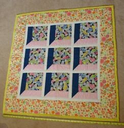 Barbie Converse High Tops Finished Machine Pieced Quilt Top Lap Crib 38 X 38 In