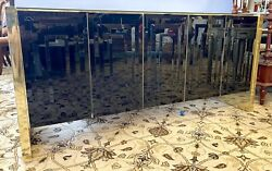 Mid Century Modern Paul Evans Style Black Glass And Gold Chrome Buffet Credenza