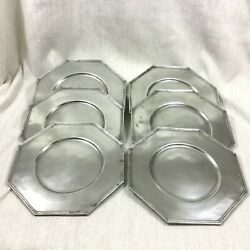 Christofle Pewter Charger Under Plates Set Of 6 Trays Platters Mid Century Rare