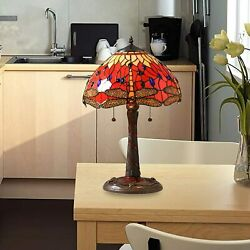 Style Lamp Stained Glass Table And Desk Dragonfly Red 14-inch Shade New