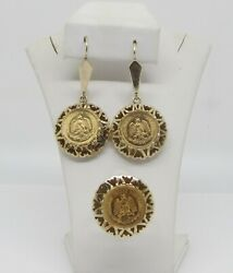 10k Yellow Gold Women Set Ring And Earrings W/3pc 22k Dos Pesos Mexican Coins 1945