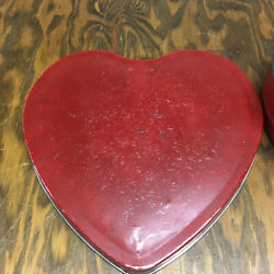 Vintage Heart Shape Metal Container Valentine Candy Box Shabby Chic Decor