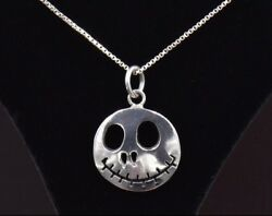 Nightmare Before Christmas Jack Skellington Face Sterling Silver Necklace Charm
