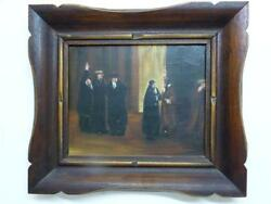 Vintage Signed Judaica Oil Painting Rabbis In Heated Discussion 19 X 24 Cm