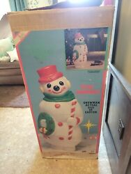 Vintage 46 Large Empire Snowman Blow Mold 1968 Candy Cane Wreath With Om Box