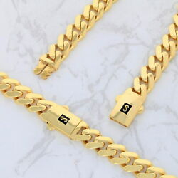 10k Yellow Gold Miami Cuban 9mm Royal Monaco Curb Link Chain Necklace 18- 30
