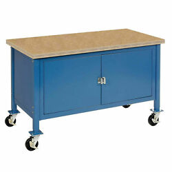 Mobile Workbench With Security Cabinet Shop Safety Edge 60w X 30d Blue