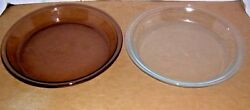 Two Pyrex Pie Plates One Tinted , One Clear  209 Oven And Microwave Safe