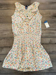 Nwt Girland039s Dress Cream Blue Pink Green Floral Lined Size 10 New
