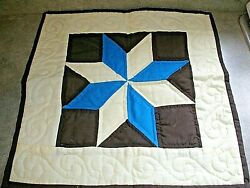 Hand Quilted Star Wall Hanging Quilt Blue Brown Tan 17quot; x 17quot;