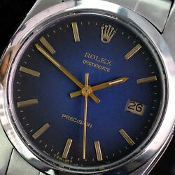 Rolex Vintage Watch Oysterdate Precision Black Index Dial Oyster Band 34mm