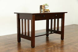 Mission Oak Arts And Crafts Antique Craftsman Office Desk Or Library Table 37726