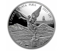 Buy 1 X 5oz Troy Ozs 2021 .999 Fn Silver Proof Mexican Libertad Coin-w/capsule