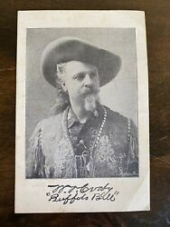Vintage Buffalo Bill Cody Card W/ Printed Photograph And Faux Signature