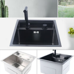 Hidden Kitchen Sink Single Bowl Stainless Steel W/drain Assembly+folding Faucet