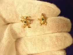 Pair Of Handcrafted 10k Gold And Real Emerald Lapel Pins, Frog And Incan Diety
