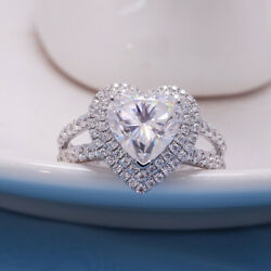 Gorgeous 925 Silver Plated Heart Imitated Diamond Ring For Women Wedding Jewelry