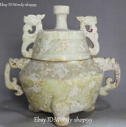 Chinese Old Jade Pure Hand Carved Dragon Loong Incense Burner Censer Incensory