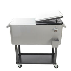 80qt Outdoor Party Rolling Cooler Cart With Tray Ice Beer Beverage Chest