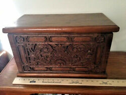 Antiques,chestandtrunks, Spanish Oak, Fitted, Hand Madeand Carved, 1800-1850, Spain