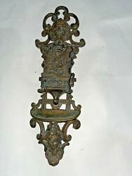 Cast Iron Wall Hanging Match Safe With Faces Made In Italy