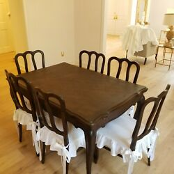 Antique French Provincial Draw Leaf Dining Table And 6 Chairs