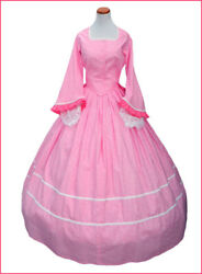 1800and039s Civil War Victorian Pink Tea Dress Day Reenactors Cotton Made In Usa