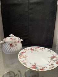 Discontinued Minton Ancestral Sugar Bowl W/lid And Salad Plate Wreath Backstamp