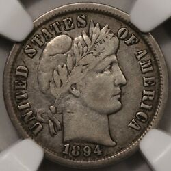 1894 Barber Dime Ngc Vf-20 - Better Date, No Issues