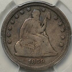 1859-s Seated Liberty Quarter Pcgs Vg-08 Tough Date Mintage Just 80000
