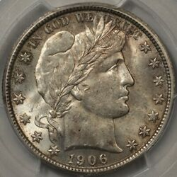 1906 Barber Half Dollar Pcgs And Cac Au-58+ Full Mint Luster