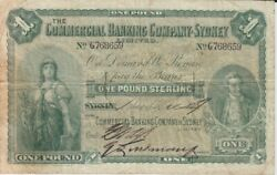 Commercial Bank Of Sydney 1907 1 Pound Issued Note Mvr 5b Fine