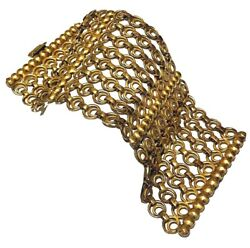 Joseff Of Hollywood Large Gold Tone Metal Circle Link Wide Clasp Cuff Bracelet