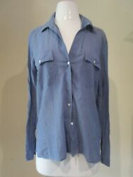 Standard James Perse 2 Dusty Blue Collared Button Down Sheer Shirt Top Blouse M