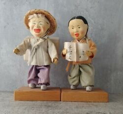 Vintage Pair Of Asian Souvenir Dolls On Stands - Paper, Cloth, Wood And Rubber