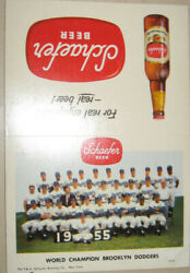 Super Rare 1950's Ws Champ Brooklyn Dodgers / Schaefer Beer Store Display Card