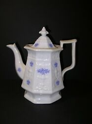 English Chelsea Ware Blue Grape Embossed Coffee Pot Grandmother's Ware Adderly