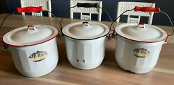 3 Vintage Federal Enamel Ware White W Red Trim Chamber Pot With Lids